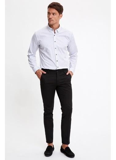 DeFacto Desenli Slim Fit Uzun Kollu Gömlek Beyaz